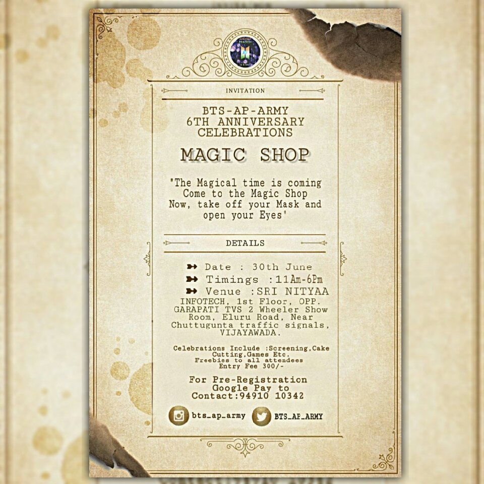 We invite you to #MAGICSHOP our #BTS6thAnniversary celebrations #BTSFESTA2019 in Vijayawada with our fellow ARMY We'd love to have your presence on most excited day n make memories together check poster for further details  Freebies include: #armybracelet n many more Entry:300/-<br>http://pic.twitter.com/pJODK8Bpqn