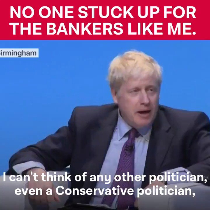 Boris Johnson only stands up for the privileged few. First it was a tax cut to benefit the richest. Now hes the greatest defender of the bankers who crashed the economy.