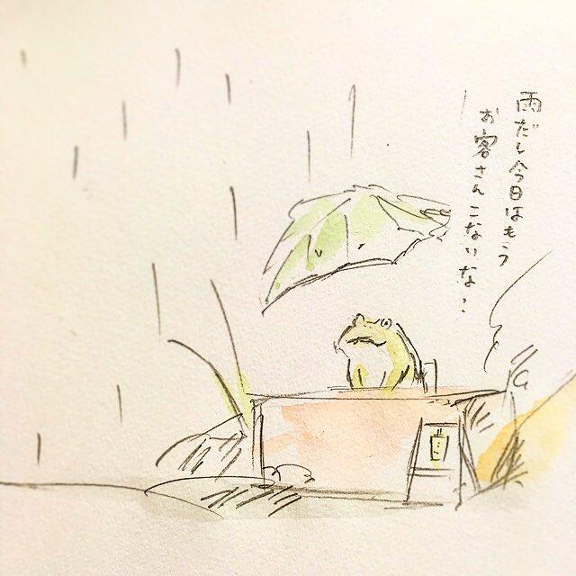 雨の日のタピオカガエル。