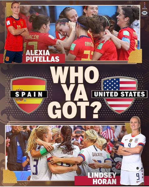 USA faces off against Spain today in the round of 16! Who ya got??@USWNT #alleyesonus #worldcup2019 #usa