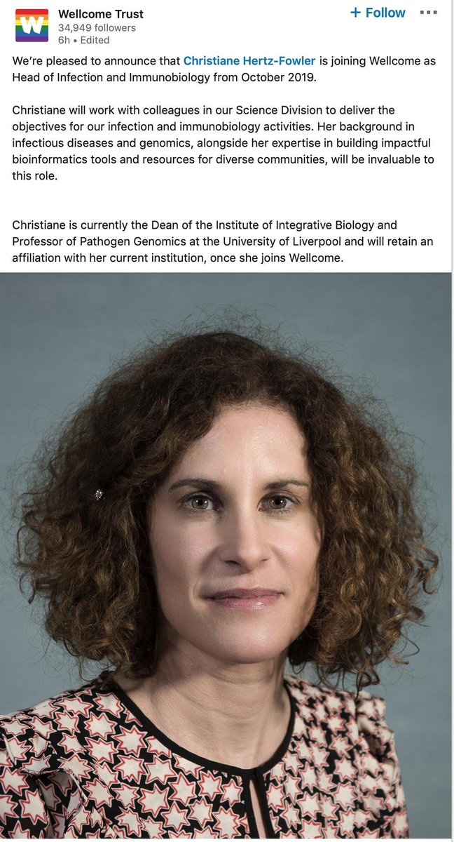 Congratulations to Professor Christiane Hertz-Fowler on her appointment at Head of Infection and Immunobiology at @wellcometrust from Oct 2019 @Christi_Fowler @livuniIIB @livuninews