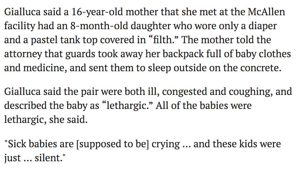 "Another dispatch from a border detention facility: ""The mother told the attorney that guards took away her backpack full of baby clothes and medicine, and sent them to sleep outside on the concrete.""https://www.texastribune.org/2019/06/23/immigrant-detention-center-mcalllen-overcrowded-filthy-conditions/?utm_campaign=trib-social&utm_content=1561387381&utm_medium=social&utm_source=twitter …"