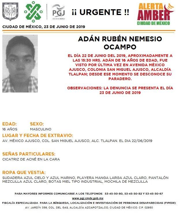 Se activó la #AlertaAmber en la #CDMX para localizar a Adán Rubén Nemesio Ocampo, de 16 años; Leonardo Sebastián Gutiérrez Camacho, de 10 años; Yuliana Morales Ortiz, de 15 años e Itzel Arceo Casarrubias, de 14 años #DFT