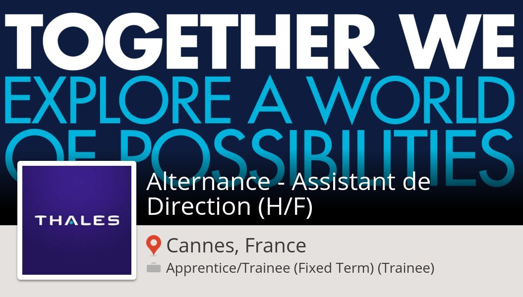 #Thales is looking for an Alternance - #Assistant de #Direction (H/F), apply now! (#CannesFrance) #job https://workfor.us/thales/1du7cs