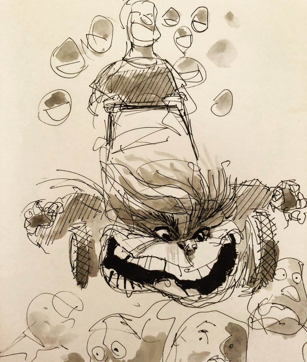 Ink and water sketch I did for on online SVA class I'm taking. #Trump #lawnmower #editorialcartoon #ink #watercolor