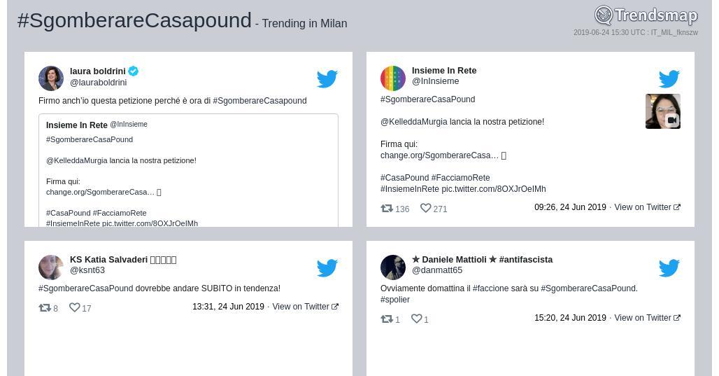 #sgomberarecasapound è ormai una tendenza in #Milan  https://www.trendsmap.com/r/IT_MIL_fknszw