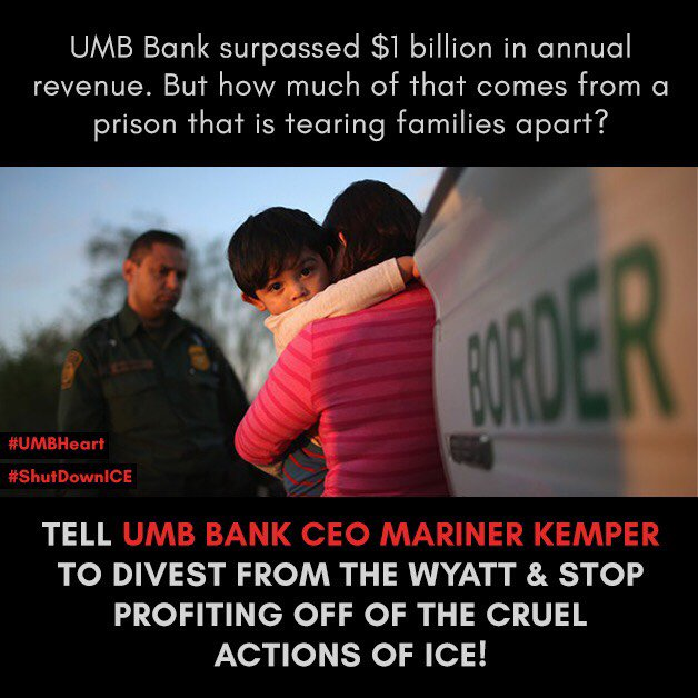 @UmbBank loves tweeting about their #UmbHeart, but they support the separation of families and just sued to keep an ICE detention center open in Rhode Island. CALL and EMAIL #UMB CEO @MarinerKemper and demand that they stop supporting ICE: 303-839-2251, mariner.kemper@umb.com