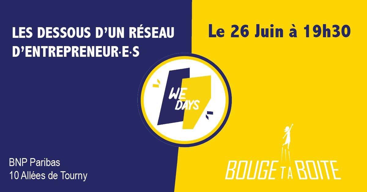[#Bordeaux, ville de réseaux] Il y a les événements plan-plan et langue de bois. Et puis il y a l'afterwork @BougeTaBoite qui brise les tabous sur les réseaux d'entrepreneur(e)s ! Inscrivez-vous : ça se passe mercredi soir👇 https://bit.ly/2J2MCrn #entrepreneuriat