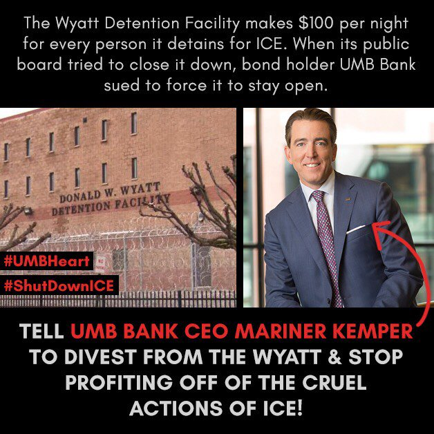 @MarinerKemper says he is a family man. Maybe then he can understand how inexcusable it is that ICE, and IGSA agreements with prisons like the Wyatt, tear families apart. Yet UMB continues to represent bondholders who invest in the Wyatt. #ShutDownICE #UmbHeart @UmbBank