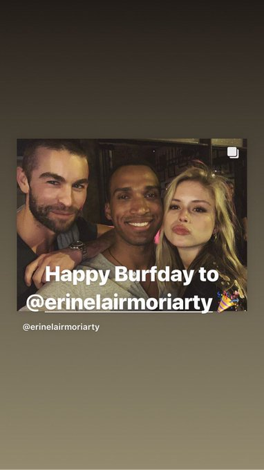 | chace crawford wishing happy birthday to erin moriarty on his instagram stories!