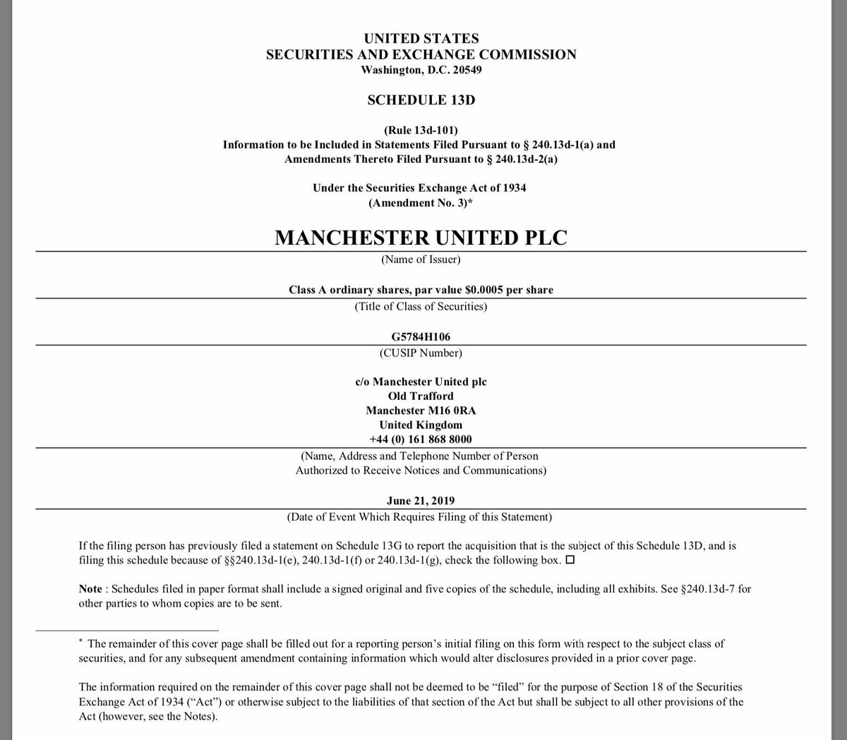 Darcie Glazer, one of the owners of Manchester United, takes out a loan secured on 393,000 shares in #MUFC, worth about $6.9 million