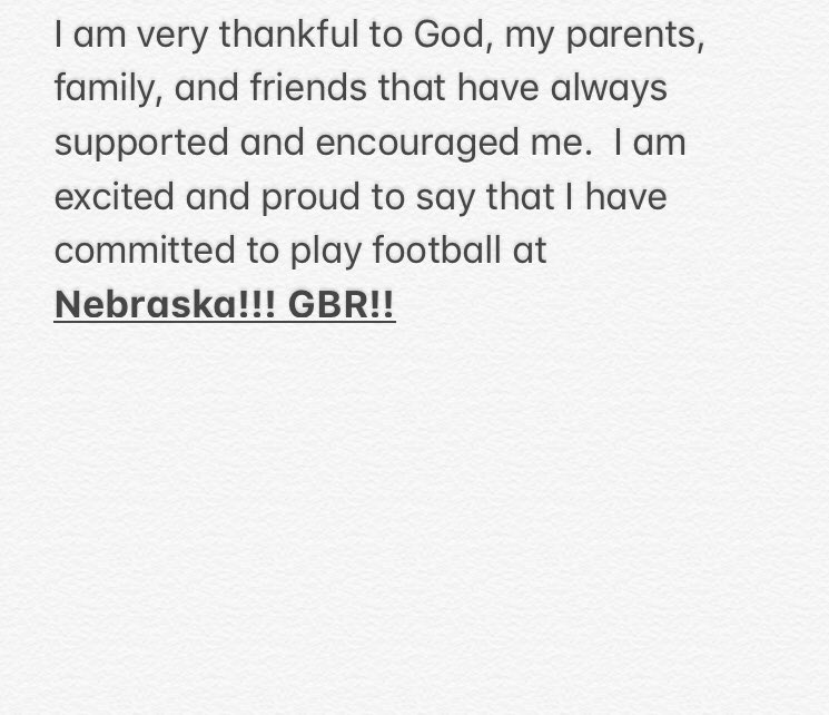 Nebraska Adds Another Commitment To 2020 Recruiting Class