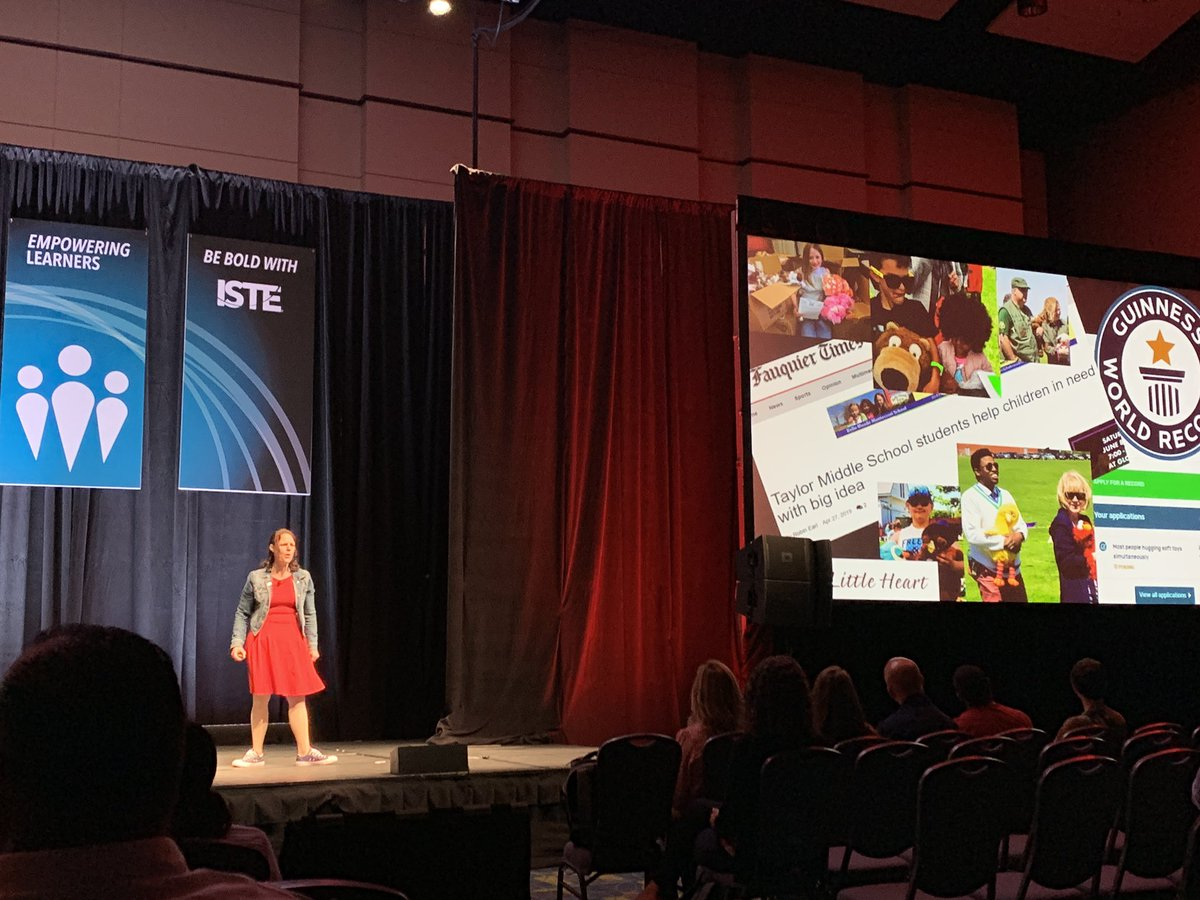 """""""Problems are just opportunities to learn, to grow, to serve in your community."""" @CathleenBeachbd sharing her story in the #TEDMasterclass Showcase. #ISTE19 @TED_ED"""