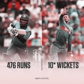 400+ runs ✅10 wickets ✅Shakib Al Hasan becomes the first allrounder in World Cup history to achieve this incredible double! 🙌🙌Welldone Shakib #CWC19#BAN VS AFG