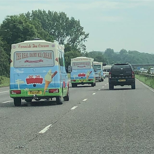 Not sure of the collective noun for a convoy of ice cream vans...