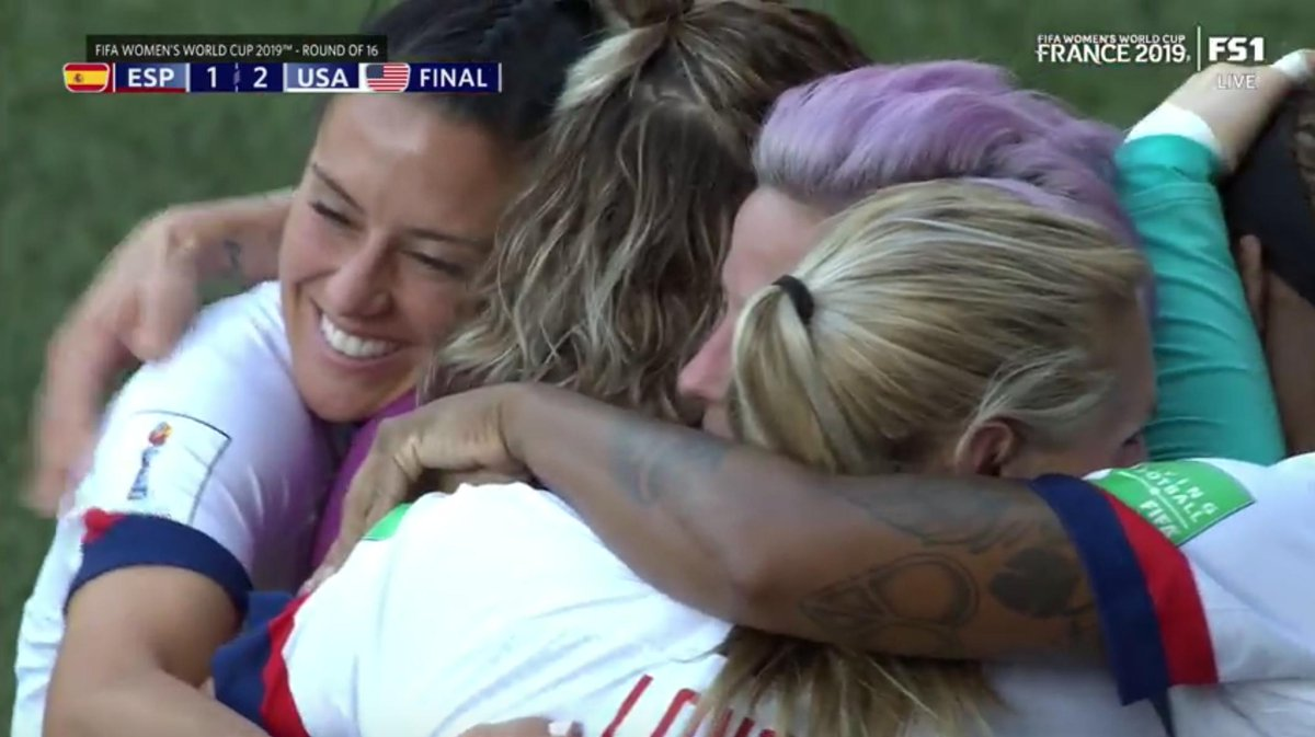 The @USWNT advances to the World Cup quarterfinals. 👏They'll meet #FRA on Friday. FINAL: #USA 2 #ESP 1