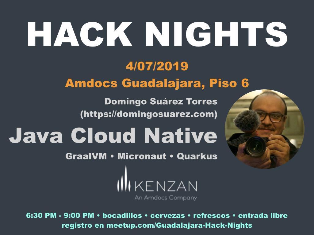 """Estaré el 4 de julio en la hermosa Guadalajara dando una charla sobre """"Java Cloud Native"""", cubriré #Micronaut #Docker #Jaeger #Kubernetes #GKE #GraalVM  ¡Nos vemos por allá! https://www.meetup.com/Guadalajara-Hack-Nights/events/262518614/…"""