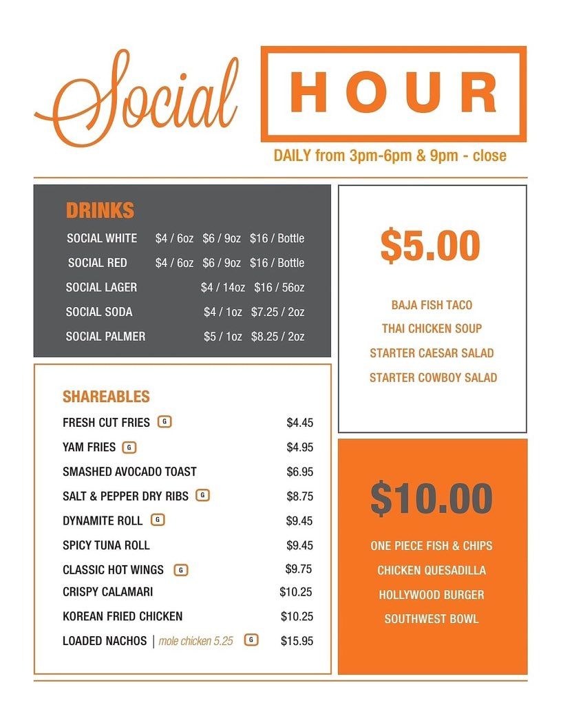 Our NEW #SocialHour menu is here❗️We've got lots of awesome food and drink items on special between 3-6pm and 9pm-close! #yql