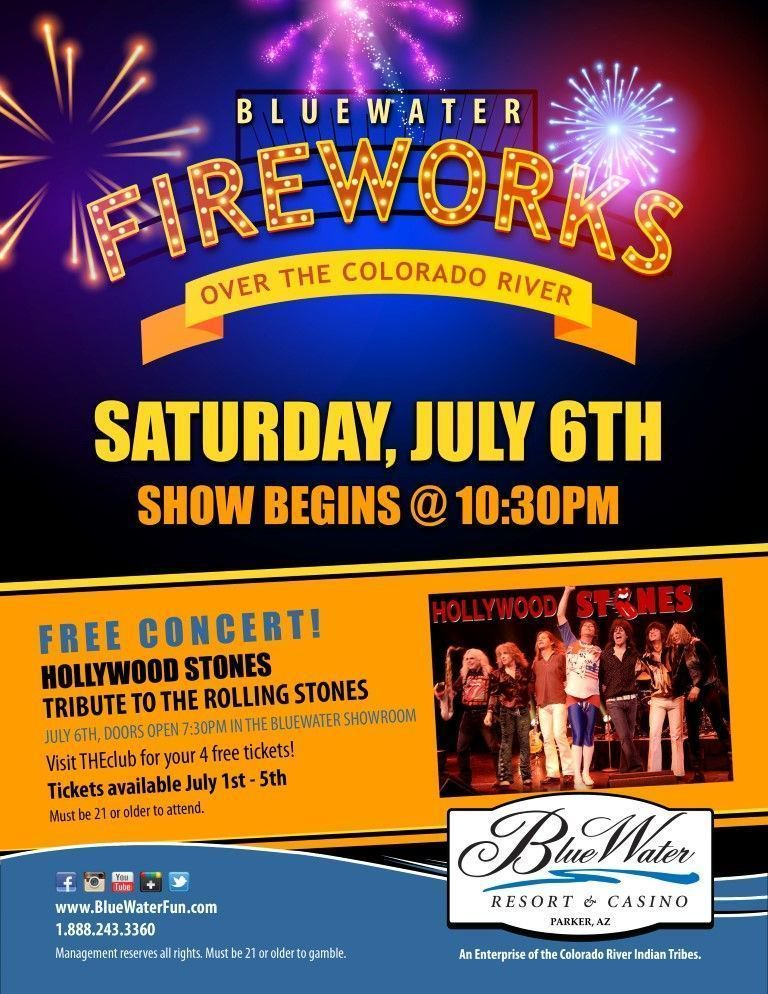 Bluewater Fireworks July 6th starting at 10:30pm Enjoy our free pre-fireworks concerts starting at 7:30pm Tickets available at THEclub from July 1st to 5th #4thofJuly #IndependenceDay #freemusic #fireworks #bluewatercasino