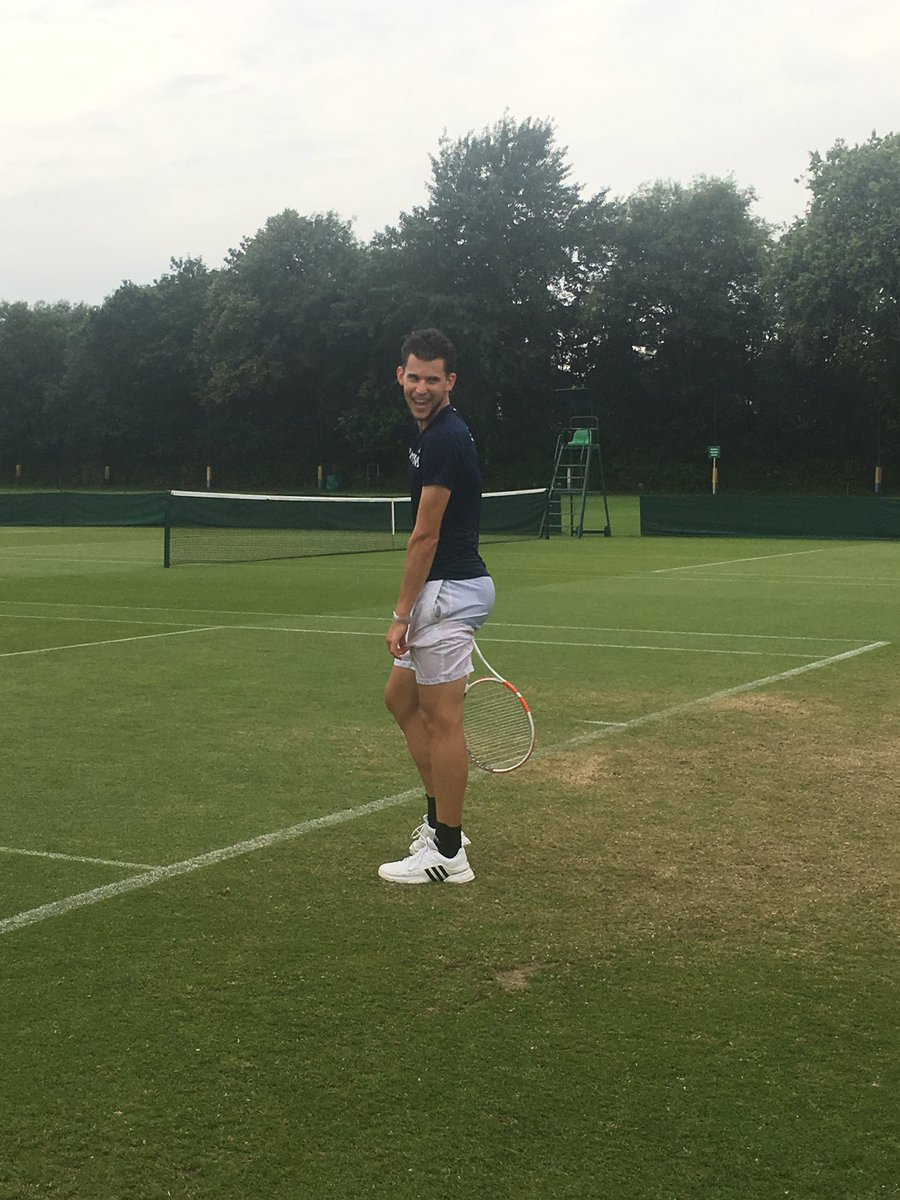 """Dominic Thiem practicing at Roehampton with his coach Nicolas Massu. Fan tells Thiem: """"Dominic, you can't wear these shorts at Wimbledon. They're see-through""""  <br>http://pic.twitter.com/C09hJxIG9U"""