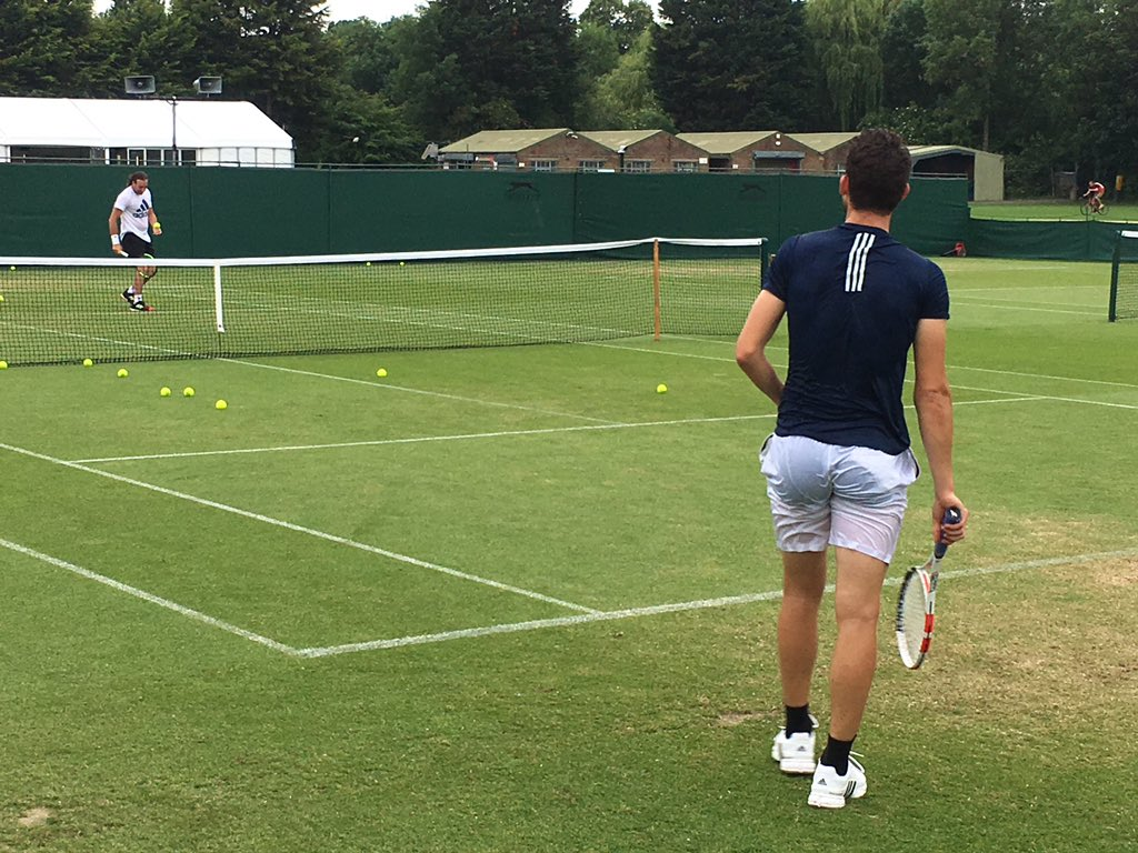 Dominic Thiem here at Roehampton practicing with coach Nicolas Massu.  #Wimbledon  <br>http://pic.twitter.com/ayZCYD0zf5