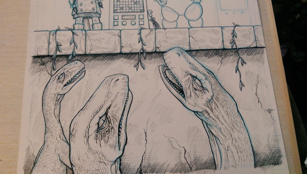 Session one done, time to take a break and let my eyes refocus... maybe I need glasses, lol. #makecomics #ComicArt #inking #dinosaur #ComicsGate<br>http://pic.twitter.com/KJMpq8aK4w