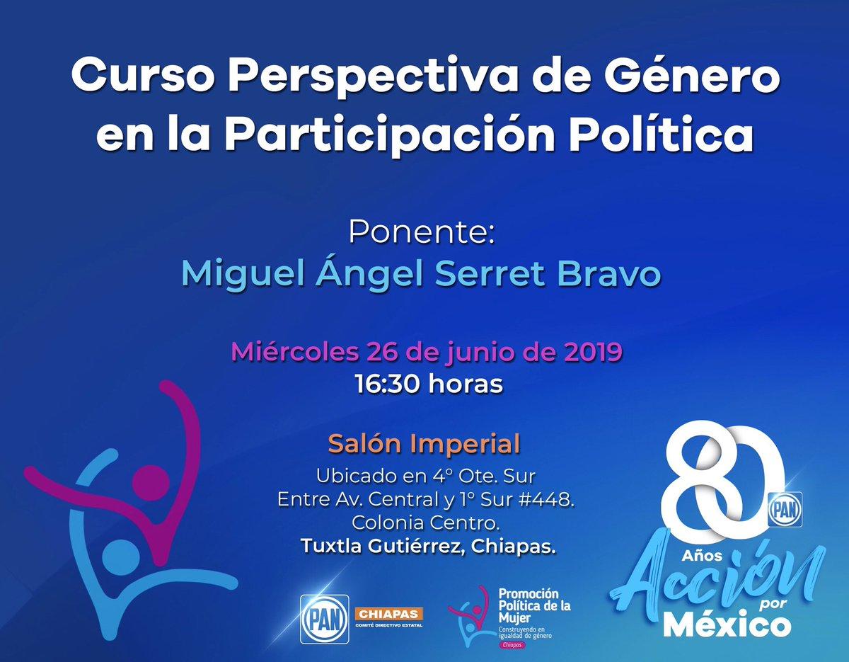 """Invitamos a todas las mujeres a que asistan al curso """"Perspectiva de Género en la Participación Política"""", que organiza PPM Estatal Chiapas, el cual será impartido por el Dr. Miguel Ángel Serrat Bravo.   📌La fecha es este miércoles 26 de junio, en la ciudad de Tuxtla Gutiérrez."""