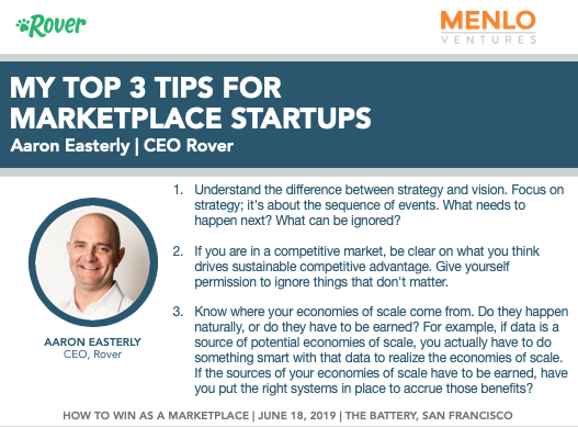 cd9007c52 ... at our #marketplace event 6/18, @RoverDotCom CEO @aaroneasterly  followed up with his top 3 tips for early-stage founders:pic.twitter .com/ar2hISWMlh