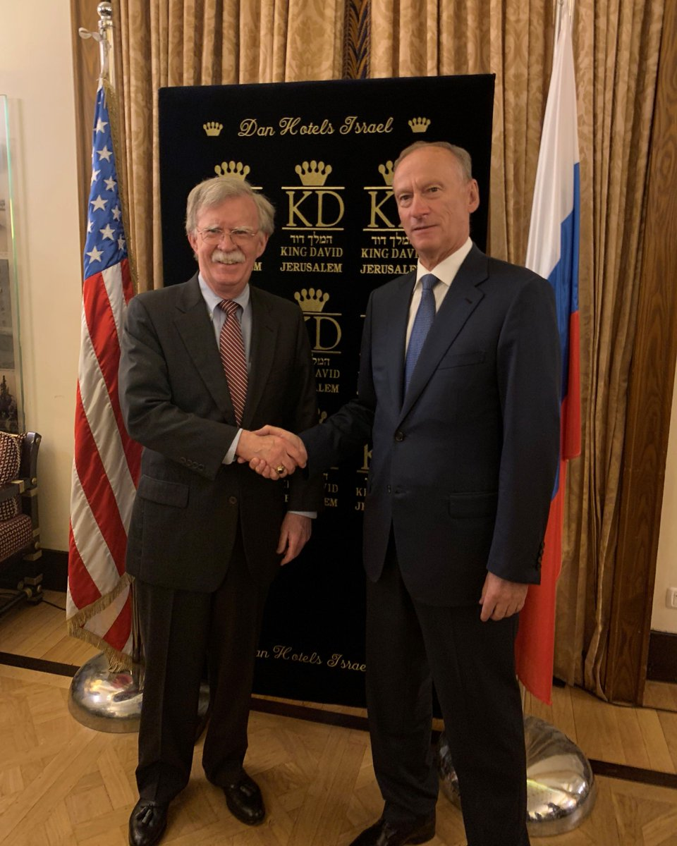 Met w/ my Russian counterpart Nikolay Patrushev in Jerusalem today. We and our teams covered Ukraine, arms control, Venezuela, and other issues. Looking forward to historic trilateral meeting tomorrow on Middle East regional security with our Israeli counterpart Meir Ben-Shabbat.