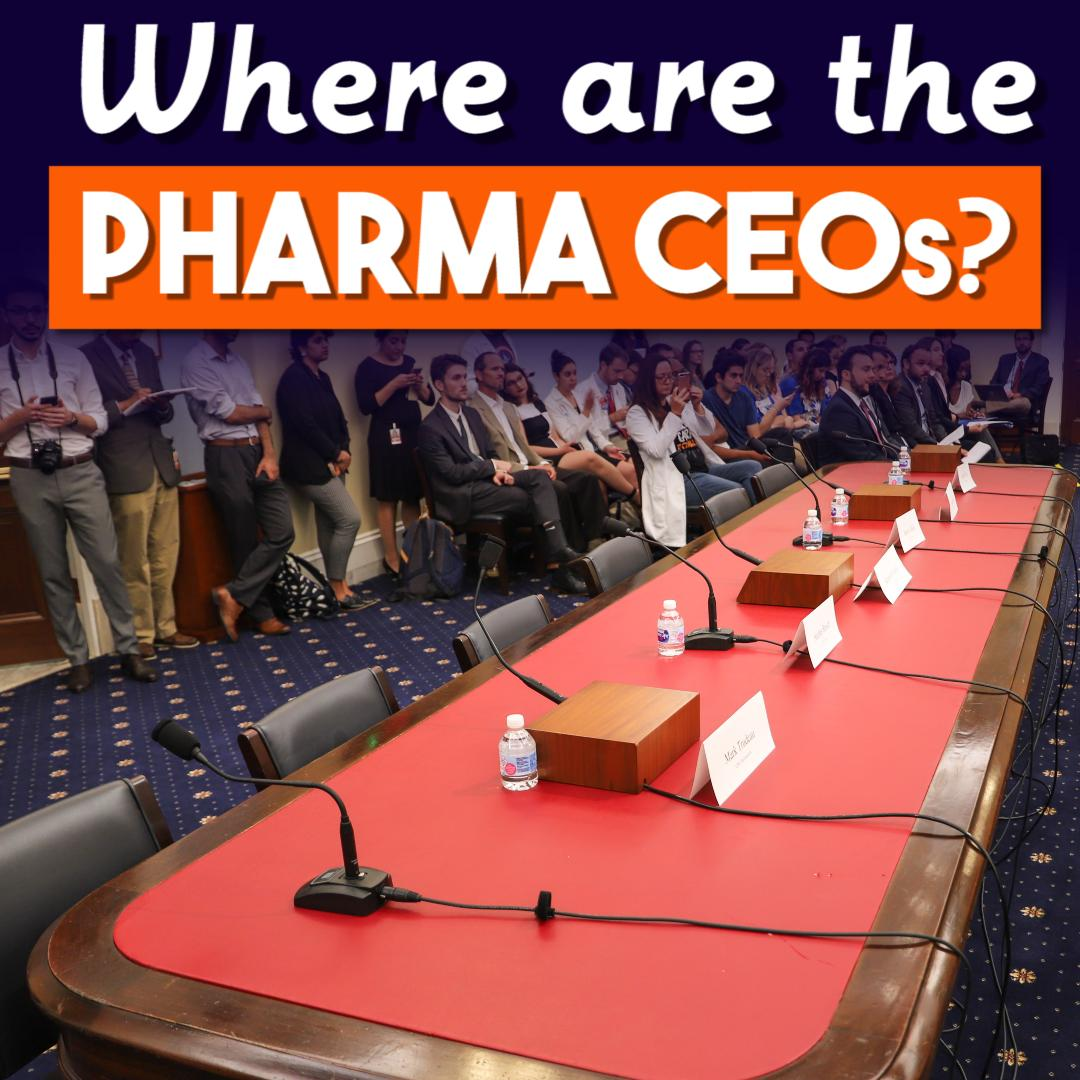 .@USProgressives invited 6 CEOs of major pharmaceutical companies to testify about their outrageous price hikes on lifesaving medicine. But the CEOs couldn't be bothered to show up.   WATCH MORE HERE ⬇️