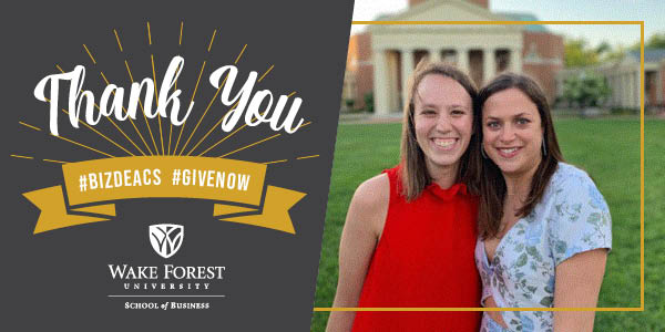 Thank you to Conoly Cravens ('19) and Caroline Lazarus ('19) for their leadership during the Wake Forest Biz Student Giving Campaign and for their generous support of the Wake Forest Fund for the School of Business! #GiveNow » https://t.co/pWbQAfjWya