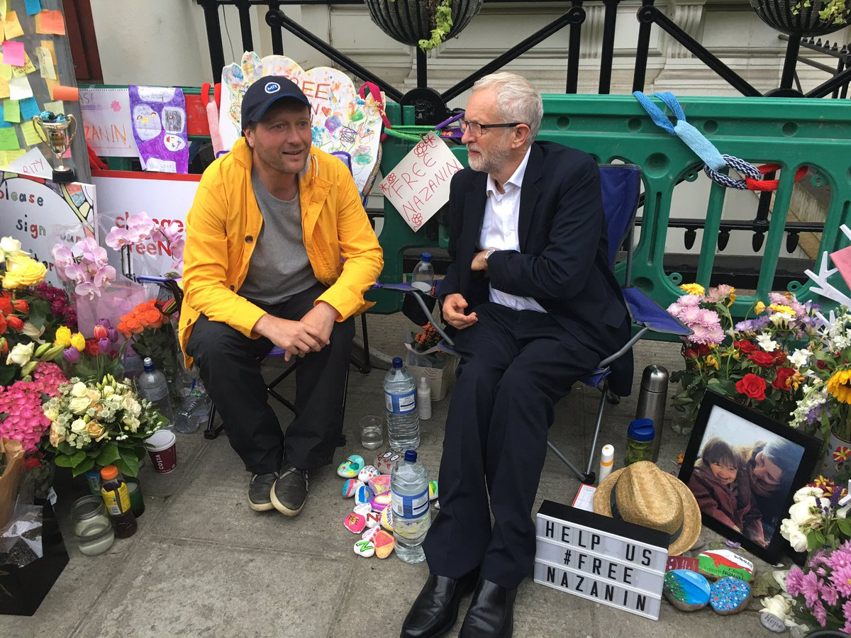 Thank you @jeremycorbyn for being the first major political party leader to visit Richard Ratcliffe in front of the Iranian Embassy today. We really appreciate your support. Please ask @khamenei_ir @HassanRouhani @JZarif to #FreeNazanin now #Hungry4Justice
