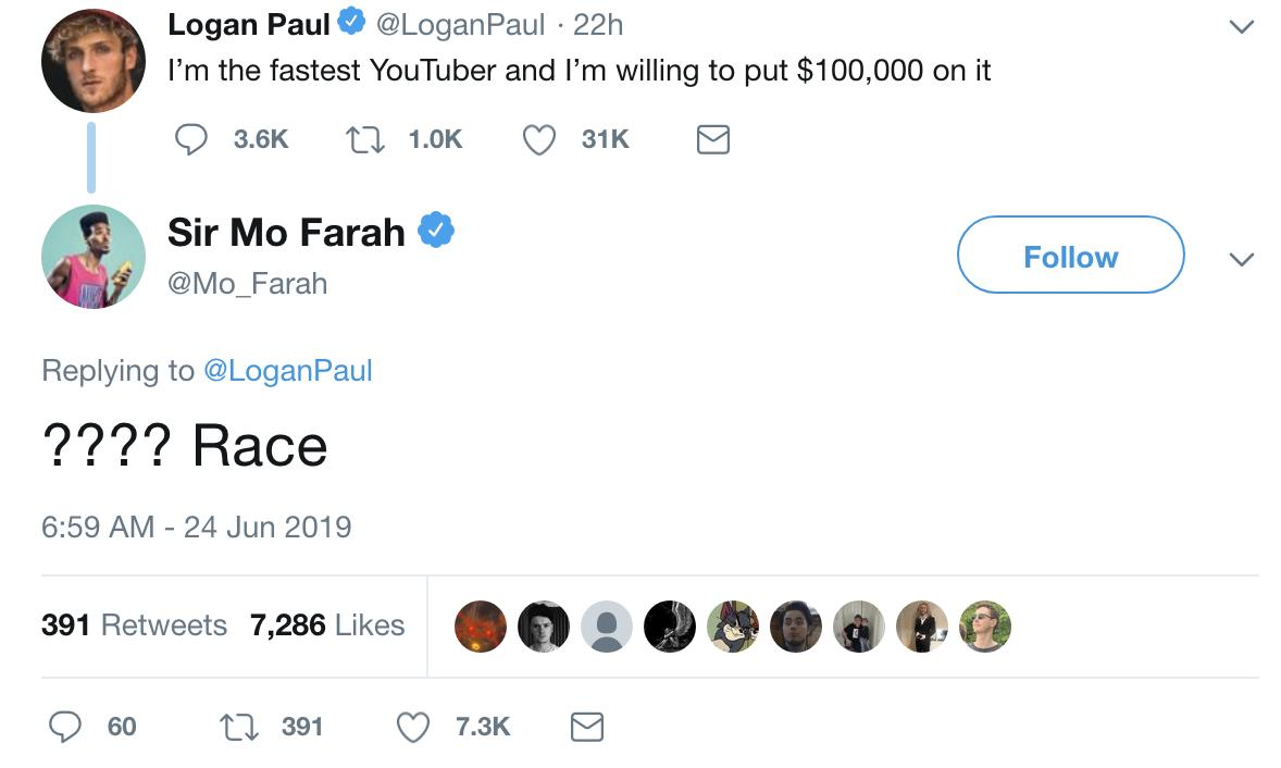 😂 The year is 2019 and Sir Mo Farah is calling out Youtubers for a race...