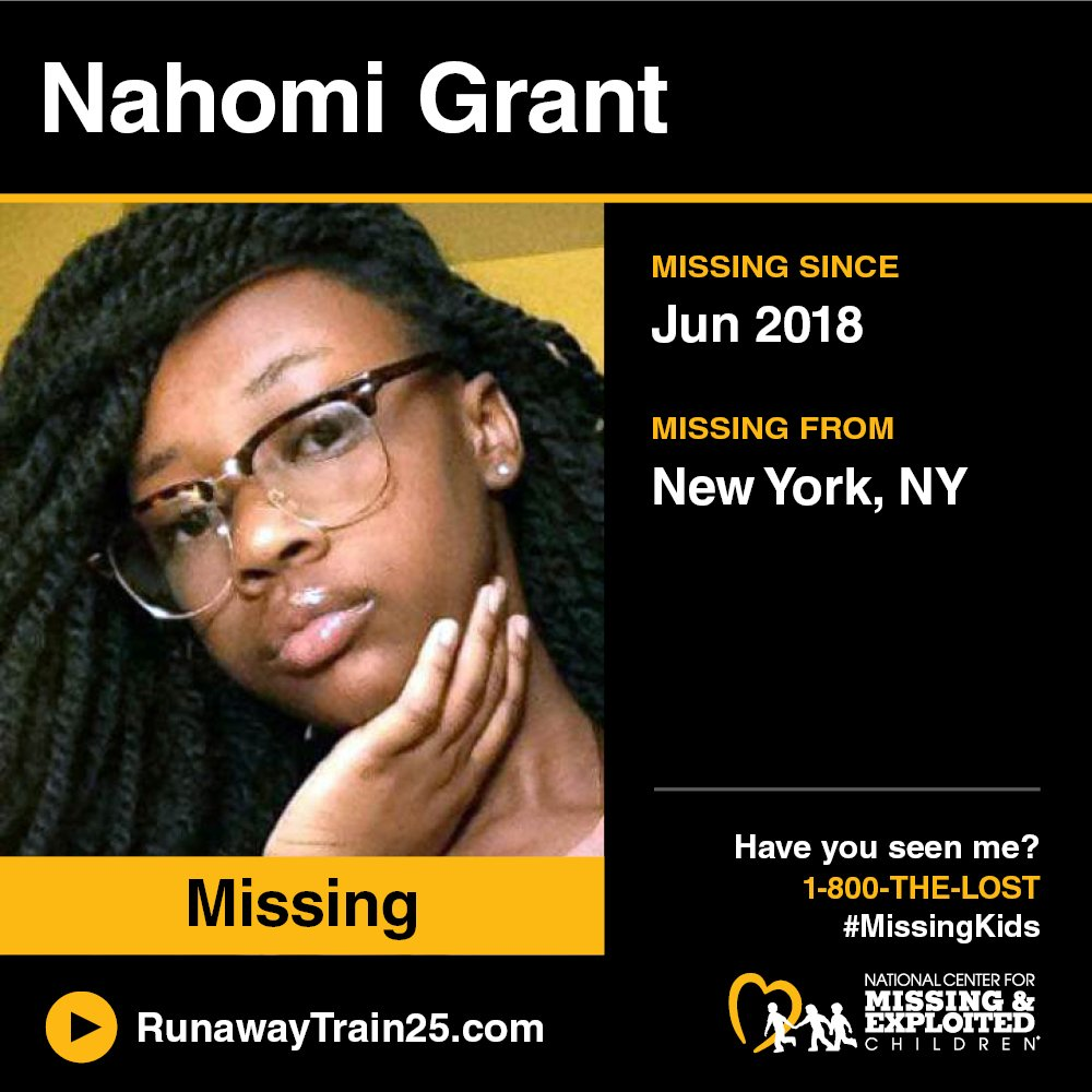 #MISSING! Nahomi was last seen on June 22, 2018 in New York, #NewYork.  Visit: http://RunawayTrain25.com to watch the first music video to help find #missingkids in your area. You can help bring them home. #RunawayTrain25