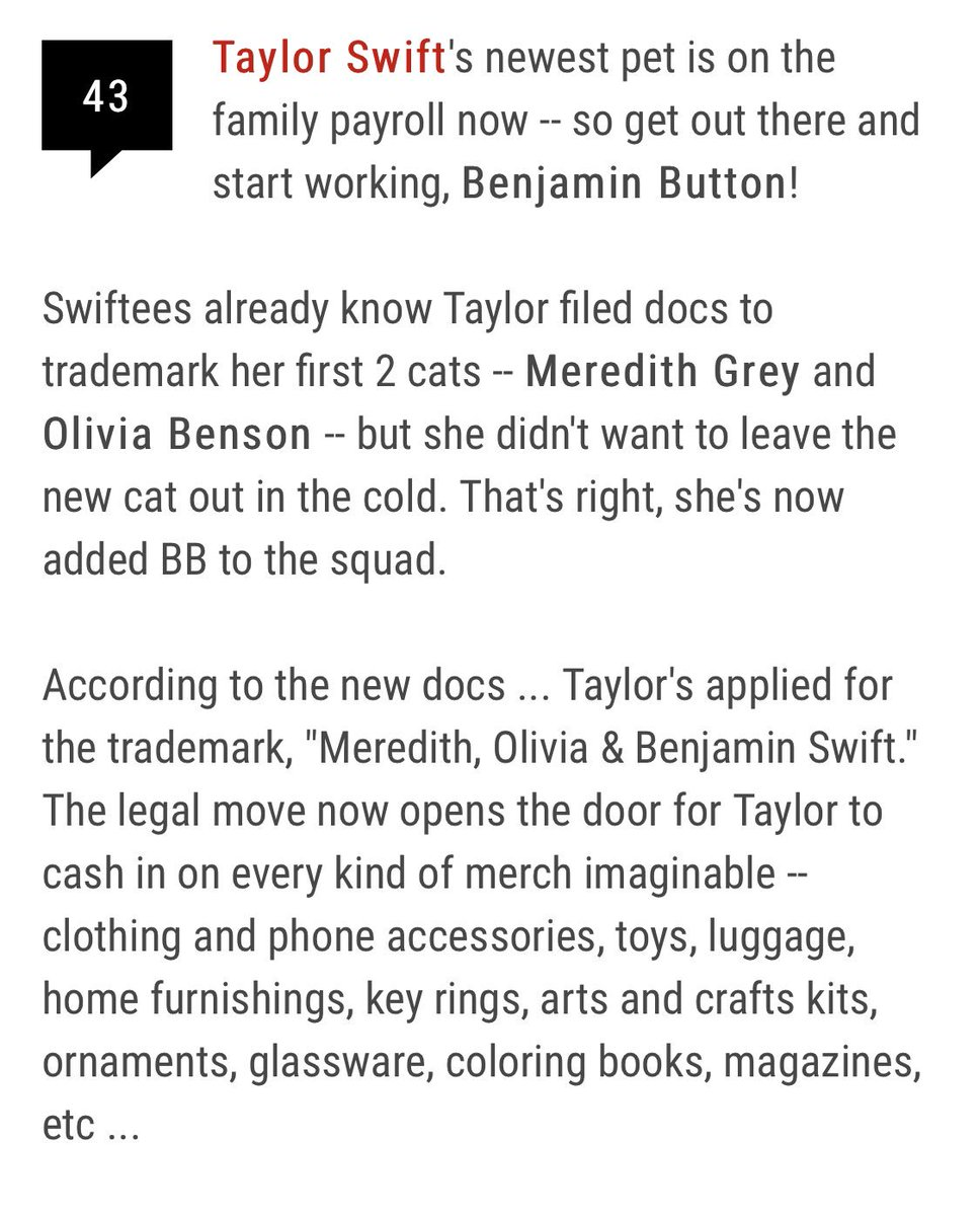 Taylor Swift News On Twitter According To Tmz Taylor Swift Has Filed A Trademark For Her New Cat Benjamin Button She Has Already Done This For Both Meredith And