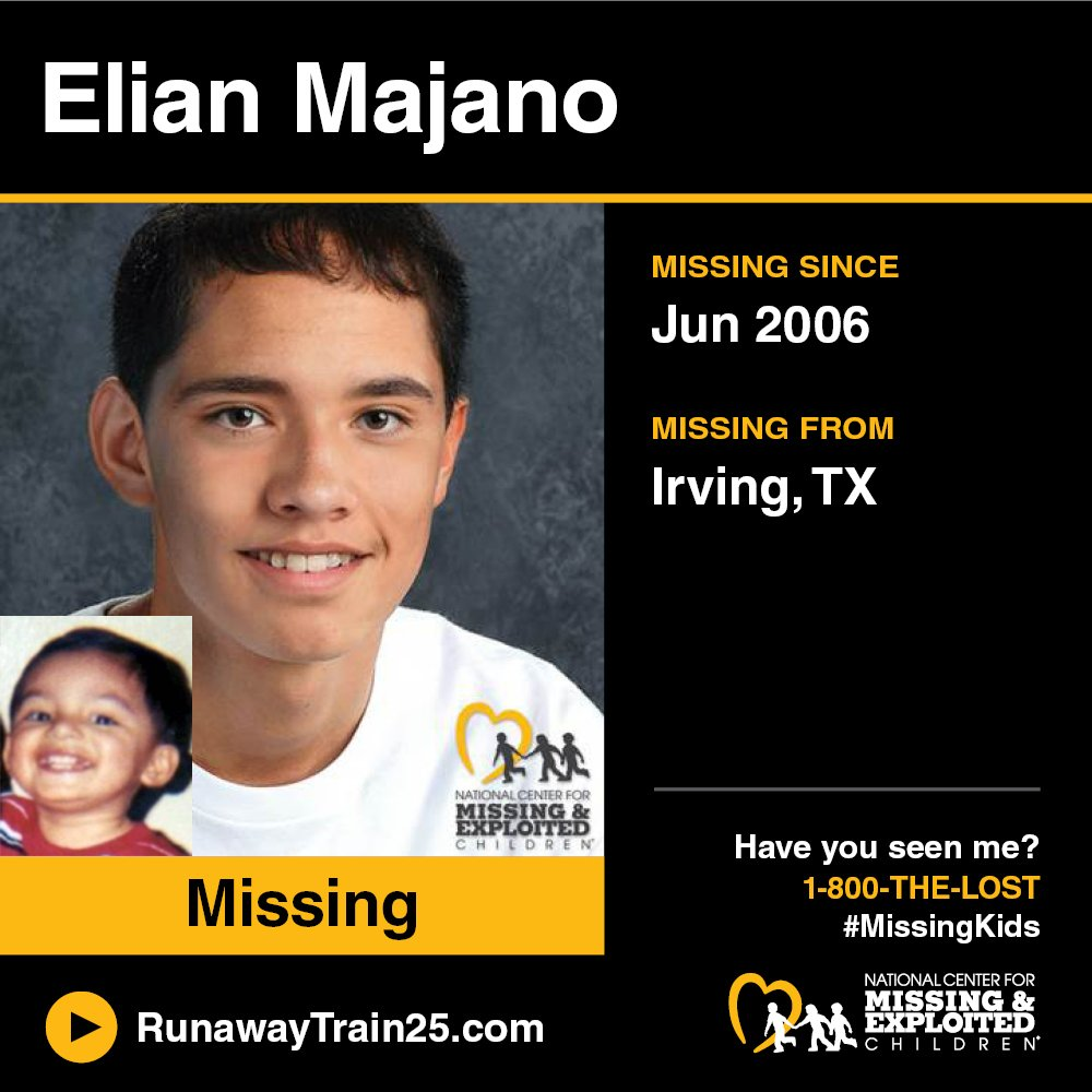#MISSING! Elian's photo is shown age-progressed to 14 years, today he is 15-years-old. He was last seen playing in a local park on 6/21/2006 in Irving, #Texas.  Visit: http://RunawayTrain25.com to watch the first music video to help find #missingkids in your area. #RunawayTrain25