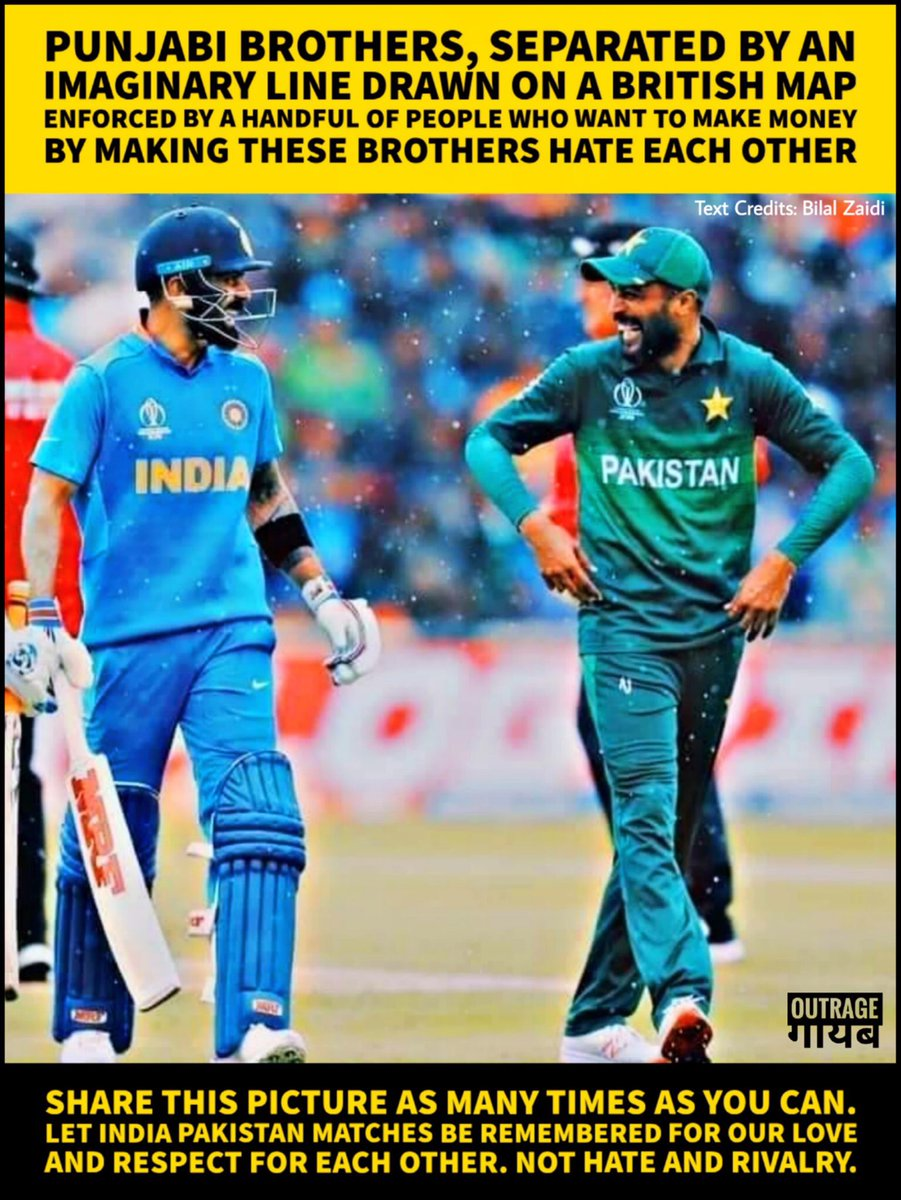 This lovely photo and the incredible thought that Virat Kohli and Mohammad Amir are two Punjabi brothers separated by the Indian partition.