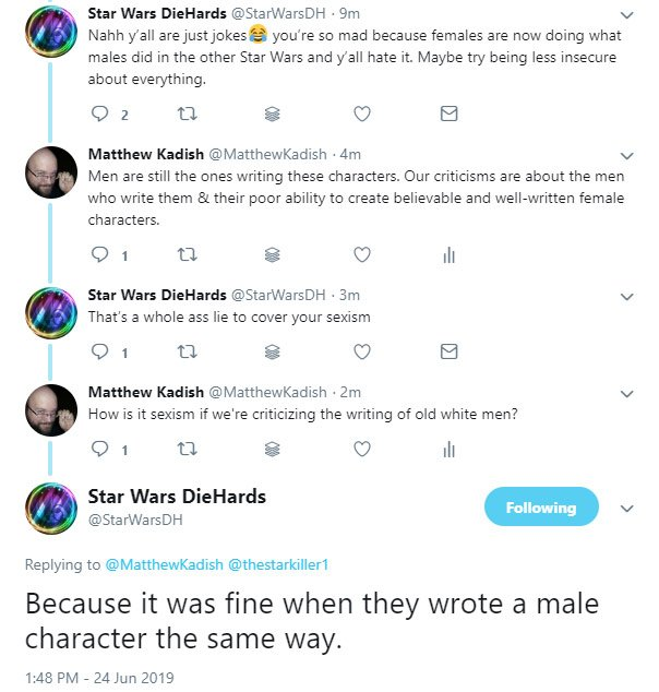 """It's hilarious when #TheLastJedi defenders accuse people w/legit criticisms of being """"sexist"""" by pointing out the writing issues of #lastjediawful. Especially about the female characters.  You all do know that OLD WHITE MEN wrote these movies, right???<br>http://pic.twitter.com/QBHEzRY2j9"""