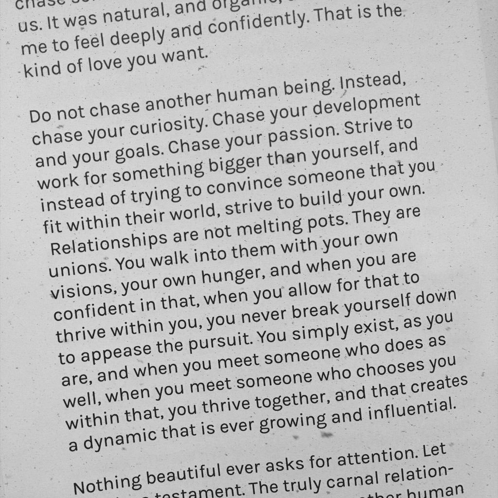 Do not chase another human being. ✨