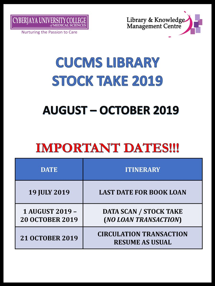 Uoc Library On Twitter Dear Staff And Students Please Take Note Of The Following Dates Below On The Library Stock Take 2019 Carried Out From August Through October Https T Co Yj7ifettzb