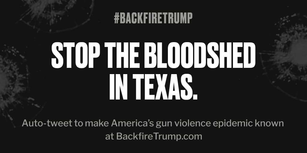Shooting in #Texas just took an American life. #POTUS, please do something. #BackfireTrump<br>http://pic.twitter.com/yjOrCxlTc8