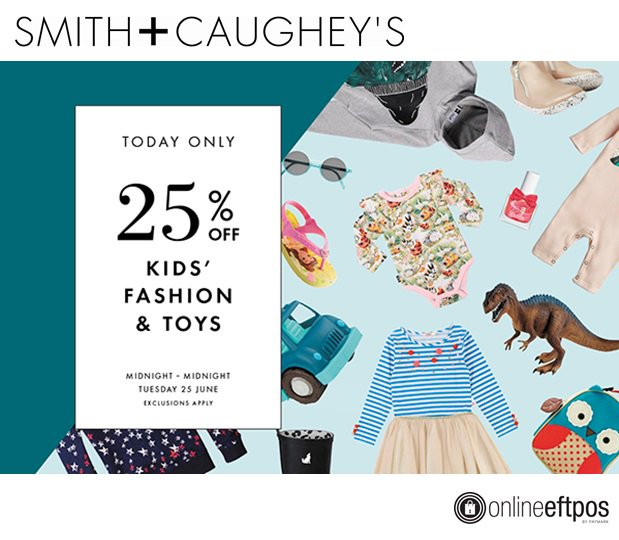 #OnNow  Kids Fashion & Toys 25% OFF!!  - available *online only - today only* @SmithandCaughey    https://www. smithandcaugheys.co.nz/kids      @ASBMobile users can pay with #OnlineEFTPOS - No exposing bank account, login or card details on the web -  https:// youtu.be/AHqXckxEe3o          #SecureFastandEasy <br>http://pic.twitter.com/RkRUIHKa5p