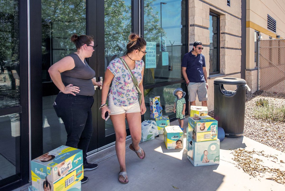 1/ People are buying diapers, wipes, soaps and toys to donate to children in overcrowded migrant detention centers.   But they're being turned away. https://bit.ly/2X29n8J