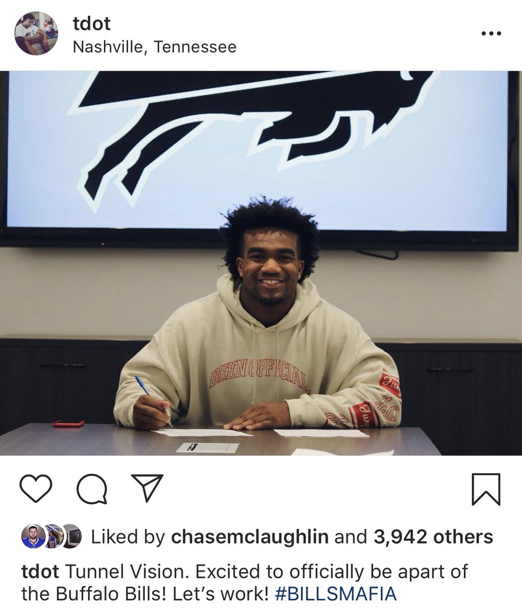 Rookie LB Tyrel Dodson, who was arrested following a domestic violence incident with his GF last month, shares to Instagram that he is excited to officially be a part of the #Bills.