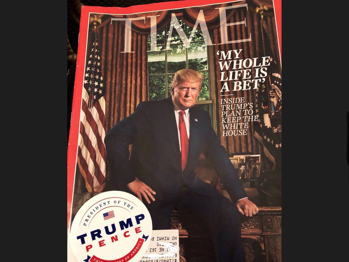 So I was at my drs office today and saw a Time rag with Trump on the cover. I just couldn't help myself and put a Trump sticker on it. Yeah, I keep a few stickers with me because you never know when you might need one. 😂 I'm sure It'll trigger a lib. #MAGA 🇺🇸
