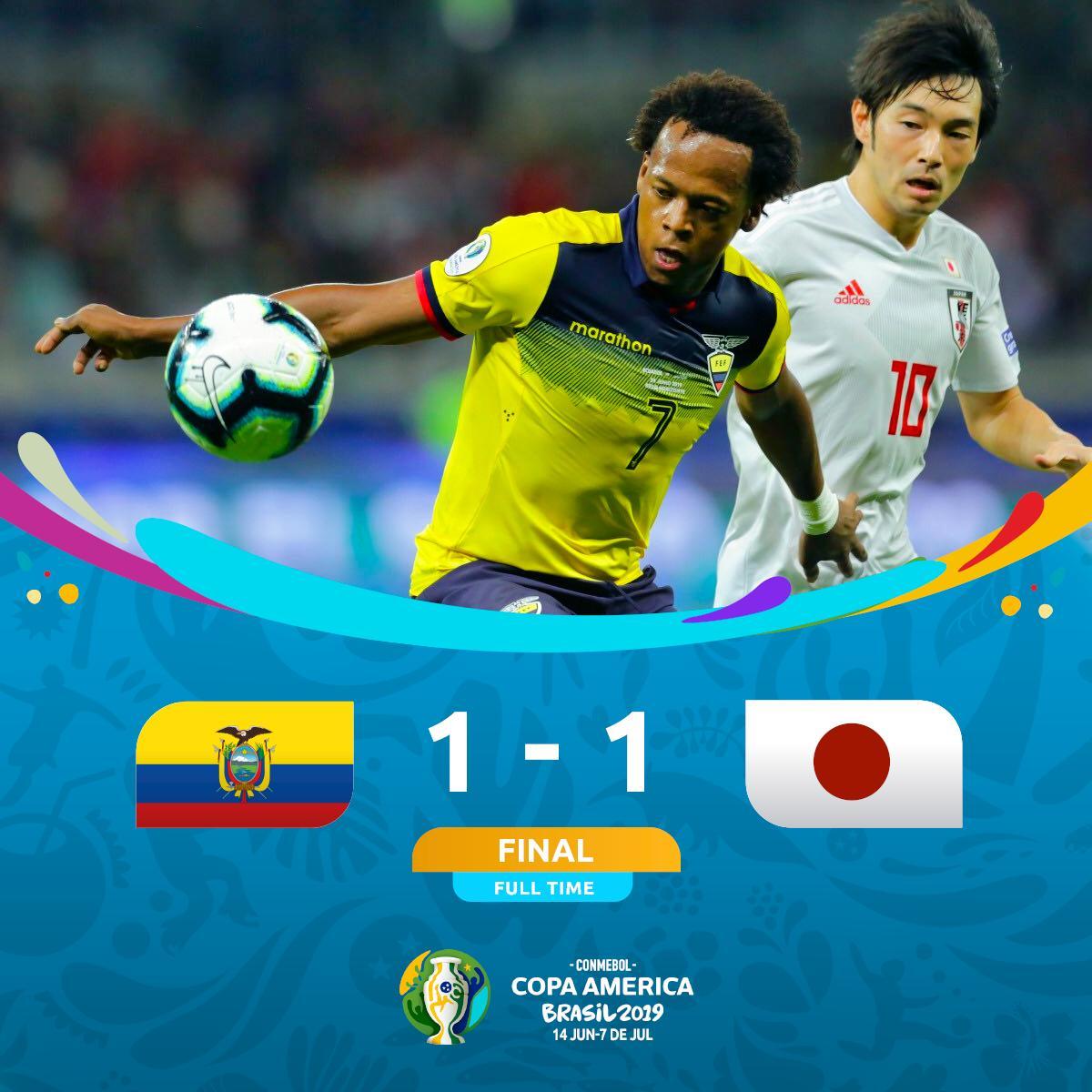 #CopaAmerica | #ECUJPN LEquateur et le Japon ont fait match nul 1-1 cette nuit. Avec le moins bon classement de tous les troisièmes de groupes, la Japon est éliminé de cette édition.