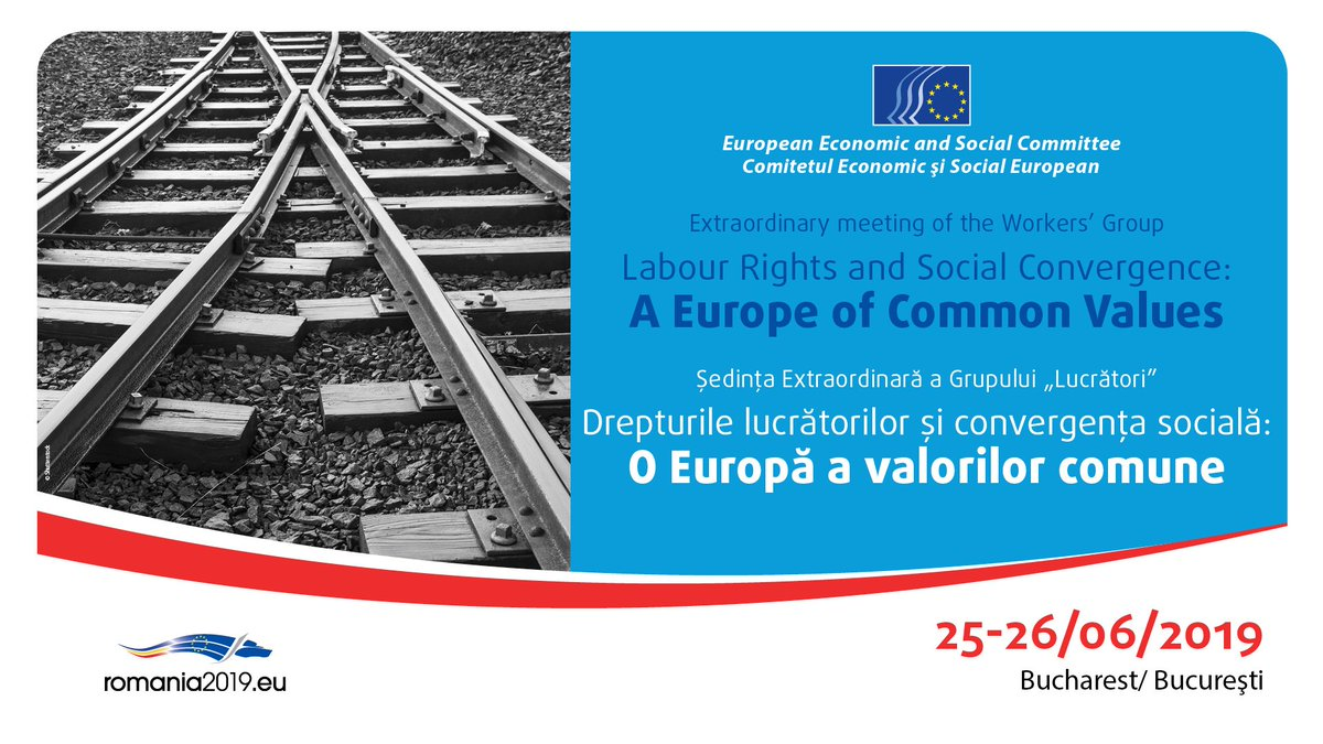 🕑Join us today for our meeting in Bucharest with trade union leaders and Romanian policy makers including @VDancila_PM On the agenda: #convergence, #socialrights, #euelections2019 📜europa.eu/!kX43ut ✉️#Journalists can register contacting press@eesc.europa.eu