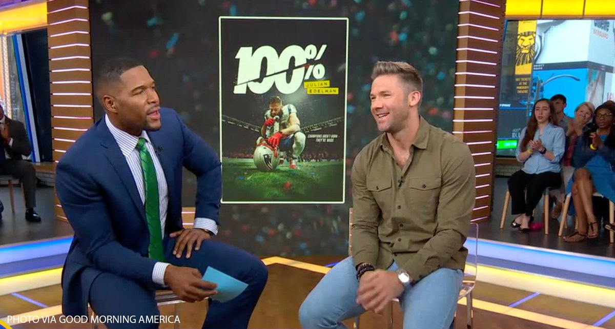 Julian Edelman + Michael Strahan = 💯   @edelman11 stopped by @GMA to talk about his new documentary with a fellow football great: https://bit.ly/2xidH4h