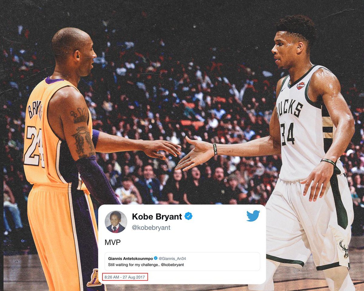 Kobe challenged Giannis to win NBA MVP in 2017.  Nearly two years later, he answered the call 😤