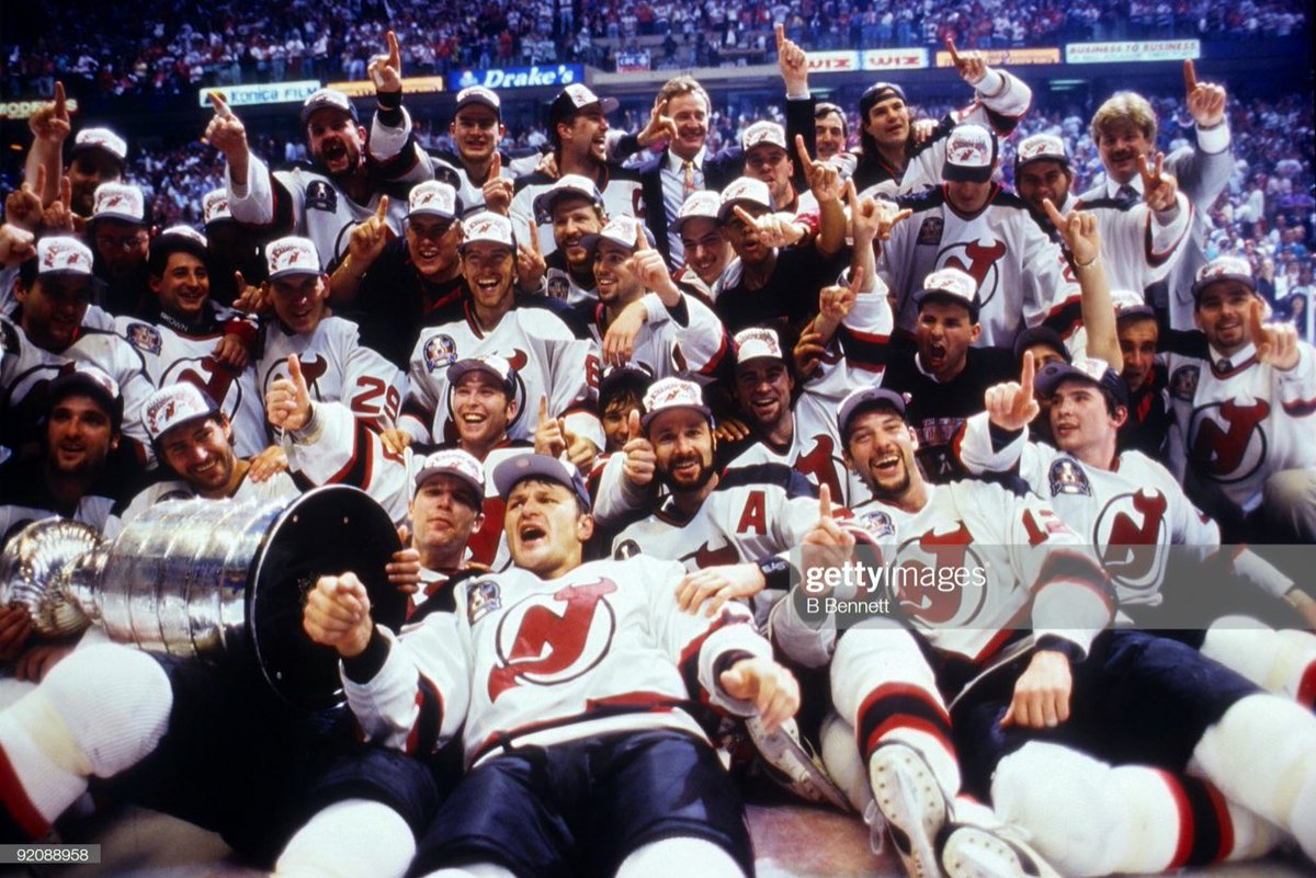 Neal Broten & Shawn Chambers scored twice, including the game-winner, & Bill Guerin had 3 assists as the #NJDevils beat the Red Wings 5-2 in Game 4 of the #StanleyCup Final on this day in 1995. The Devils swept the series to claim their first Stanley Cup championship!